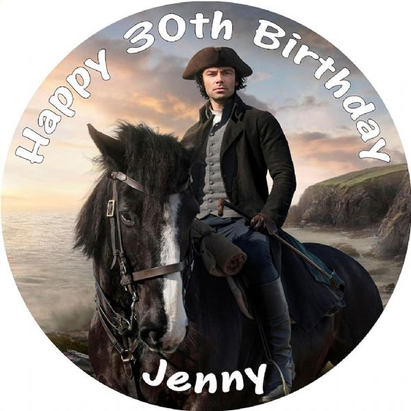 POLDARK ON HORSEBACK EDIBLE ROUND BIRTHDAY CAKE PERSONALISED DECORATION